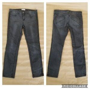 Free People black skinny jeans faux leather trim